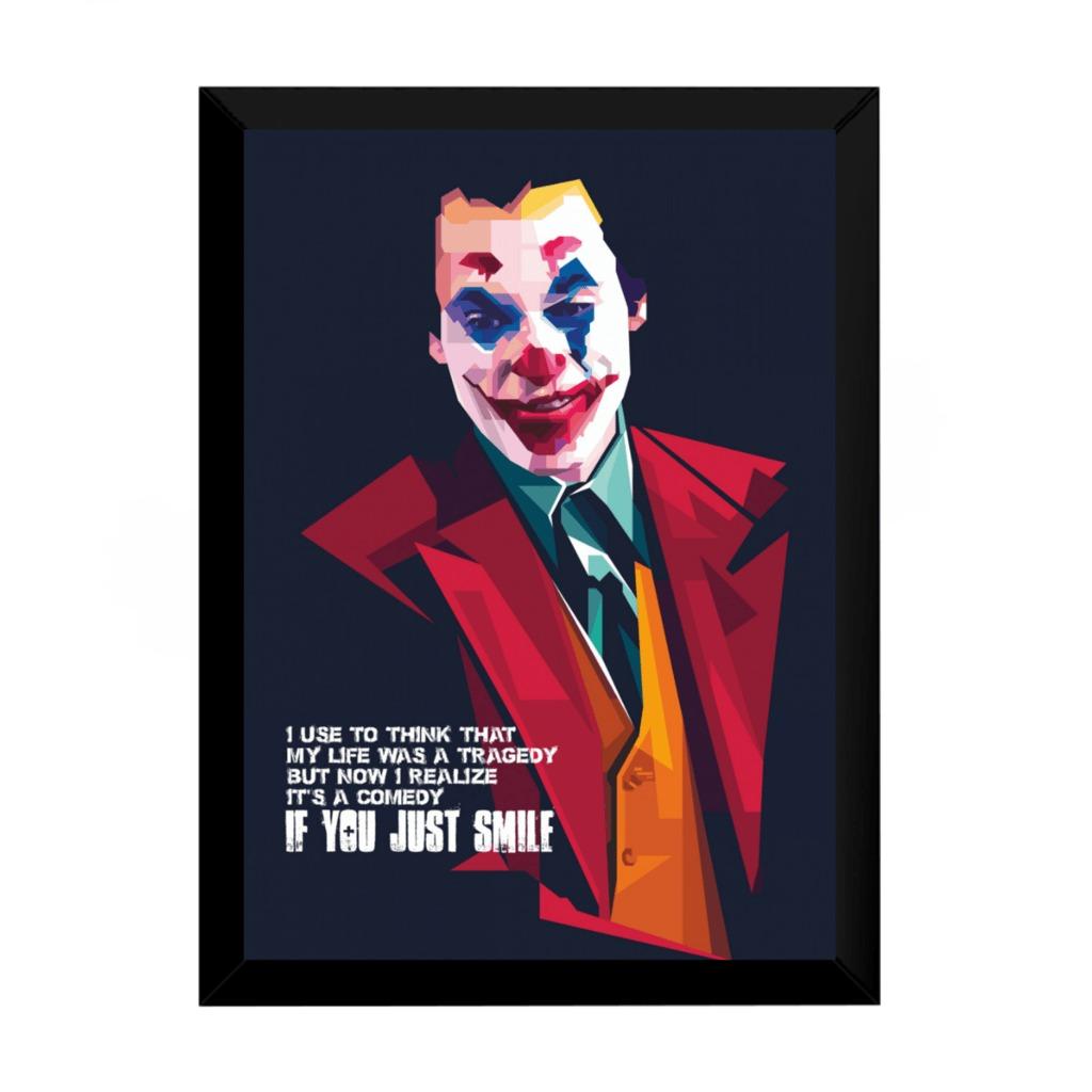 Quadro Arte Joker Estilo Pintura Frase Coringa Filme 42x29cm