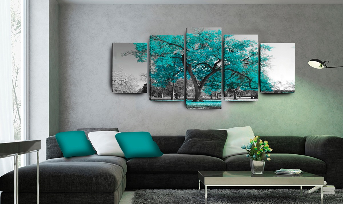 Quadro Árvore Azul Turquesa 5 Peças + 4 Capas De Almofada ...