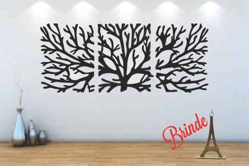 quadro árvore da vida 3pçs madeira preta +2 brindes