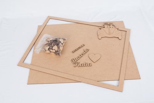 quadro assinaturas casamento - casal fusca noivos mdf 3mm