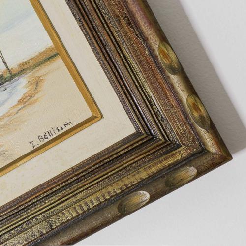 quadro barco pintura óleo sobre tela com moldura madeira cl