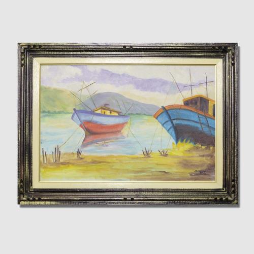 quadro barcos pintura óleo sobre tela + moldura madeira cl