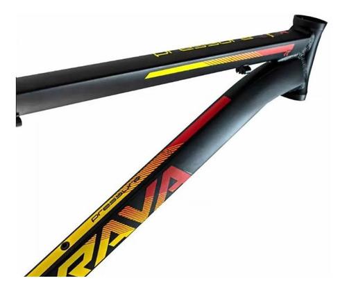 quadro bike aro 29 rava mtb pressure 17 19 amarelo vermelho