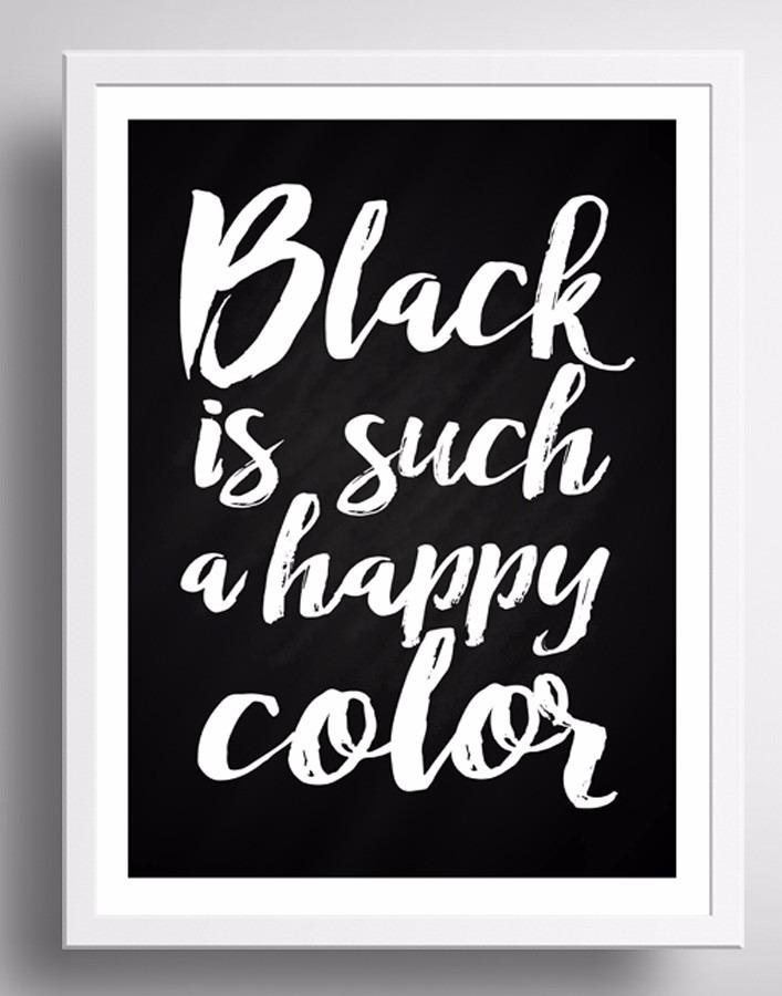 Quadro Black Happy Color Frase Preto Branco Moldura Vidro R 9900