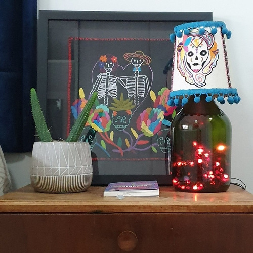 quadro bordado mexicano casal caveira - varal