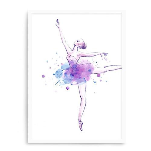 quadro branco balet aquarela 23x33 cm