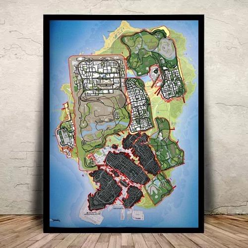 Quadro C/ Vidro Game Mapa Gta V Gamer 45x35cm Geek
