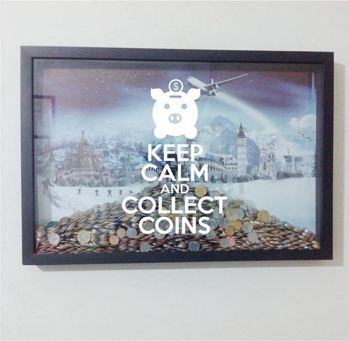 quadro caixa cofrinho coleção de moedas tam p (30x40)cm