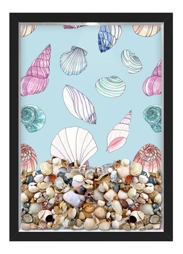 quadro caixa porta conchas praia desenhos