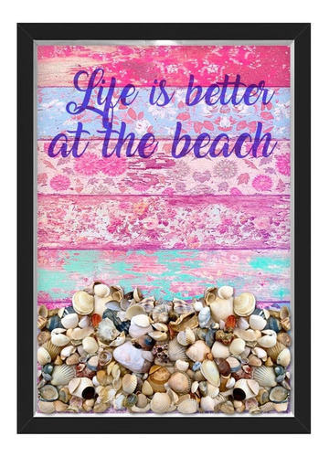 quadro caixa porta conchas praia madeira rosa