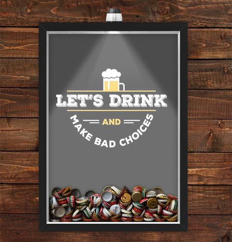 quadro caixa porta tampinha cerveja com led lets drink