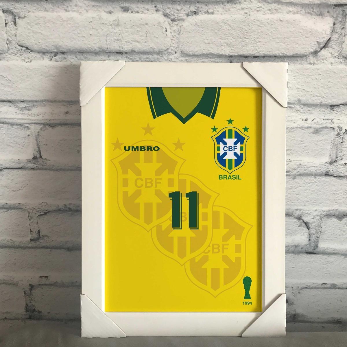 7689c91ed quadro camisa seleção brasileira copa 94 romario 11. Carregando zoom.