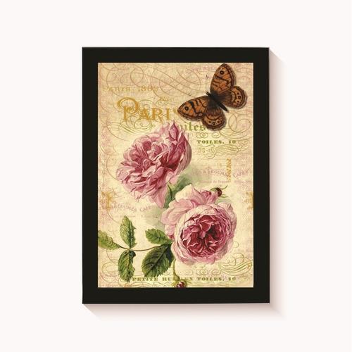 quadro cartão postal rosas decoração vintage moldura 30x20cm