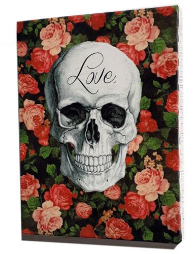 quadro caveira love  impresso em tela de pintura 30x40 cm