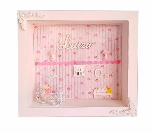 quadro cenário maternidade menina mdf decorado quarto bebê
