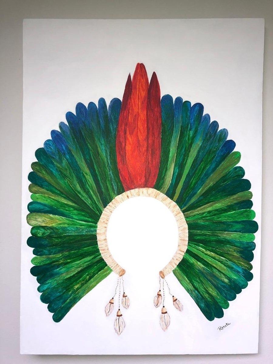 Quadro Cocar Indigena Pintura Unidade R 489 00 Em Mercado Livre