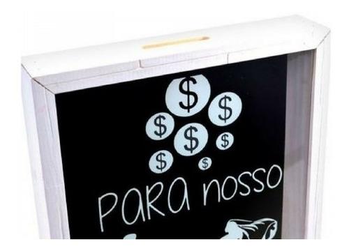 quadro cofre para casamento dinheiro e moeda 20x25 em madeir