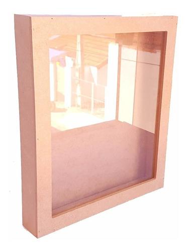 quadro cofre porta moedas e cédulas mdf crú c/ vidro grande