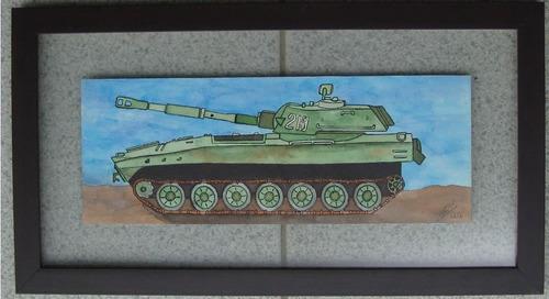 quadro com aquarela tanque soviético m1974