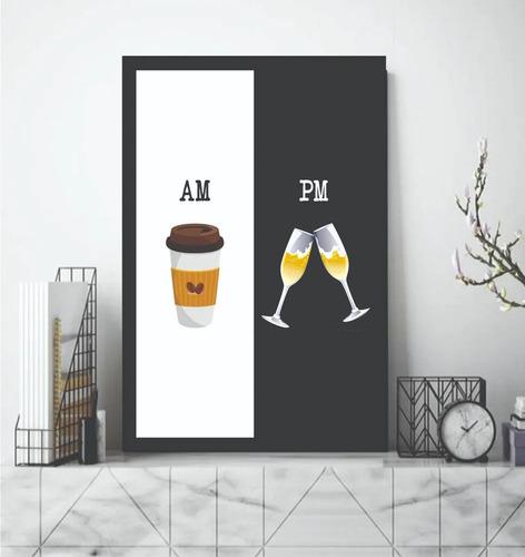 quadro com moldura cozinha café am espumante pm taças decor