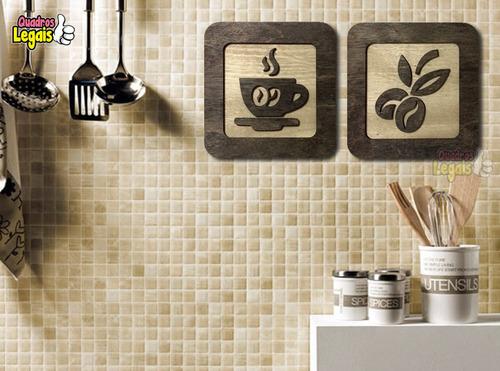 quadro cozinha café em madeira 30cm dolcegusto nespresso