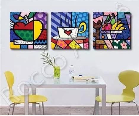 quadro cozinha  - pintado a mão - releitura  romero britto
