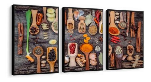 quadro cozinha temperos do mundo talher lindo moldura