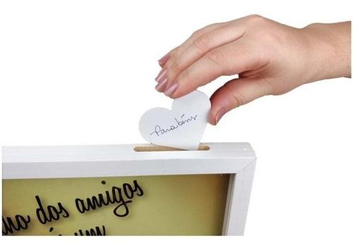 quadro de assinaturas casamento noivos coracao vidro madeira