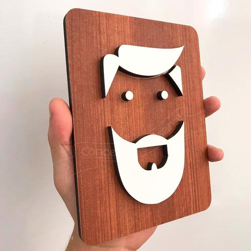 quadro de banheiro sinalização masculino barba desenho