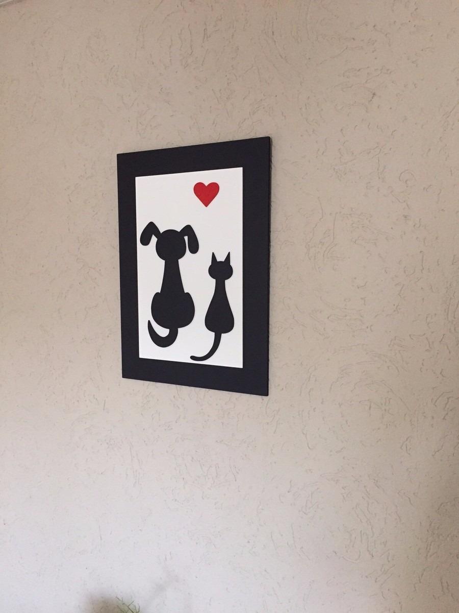 Quadro De Cachorro E Gato Preto E Branco Com Coração