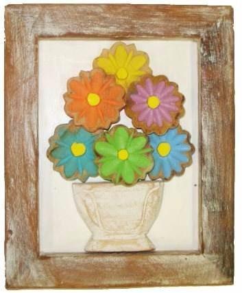 quadro de flores coloridas fundo branco (20x25)cm