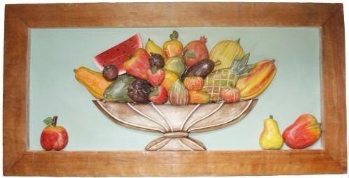 quadro de frutas sobrepostas fruteira 80cm