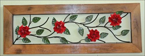 quadro de madeira e ferro frete grátis