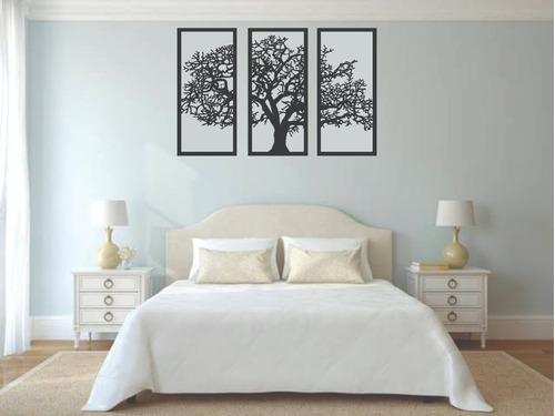quadro de parede árvore da vida king 080x1,20m preto decorar