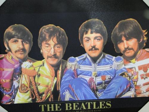 quadro de parede em tela colorida the beatles 50x35cm