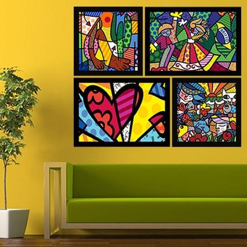 quadro de parede sala romero britto moldura 4 unidades lindo
