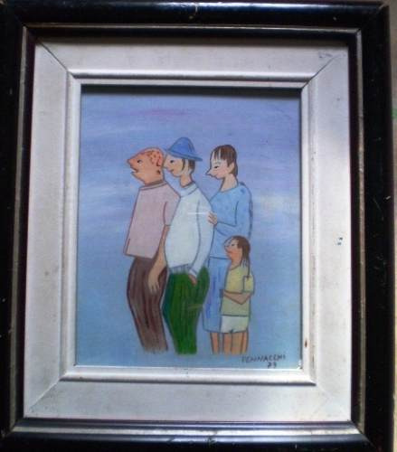 quadro de pennacchi ano 79 aquarela e guache