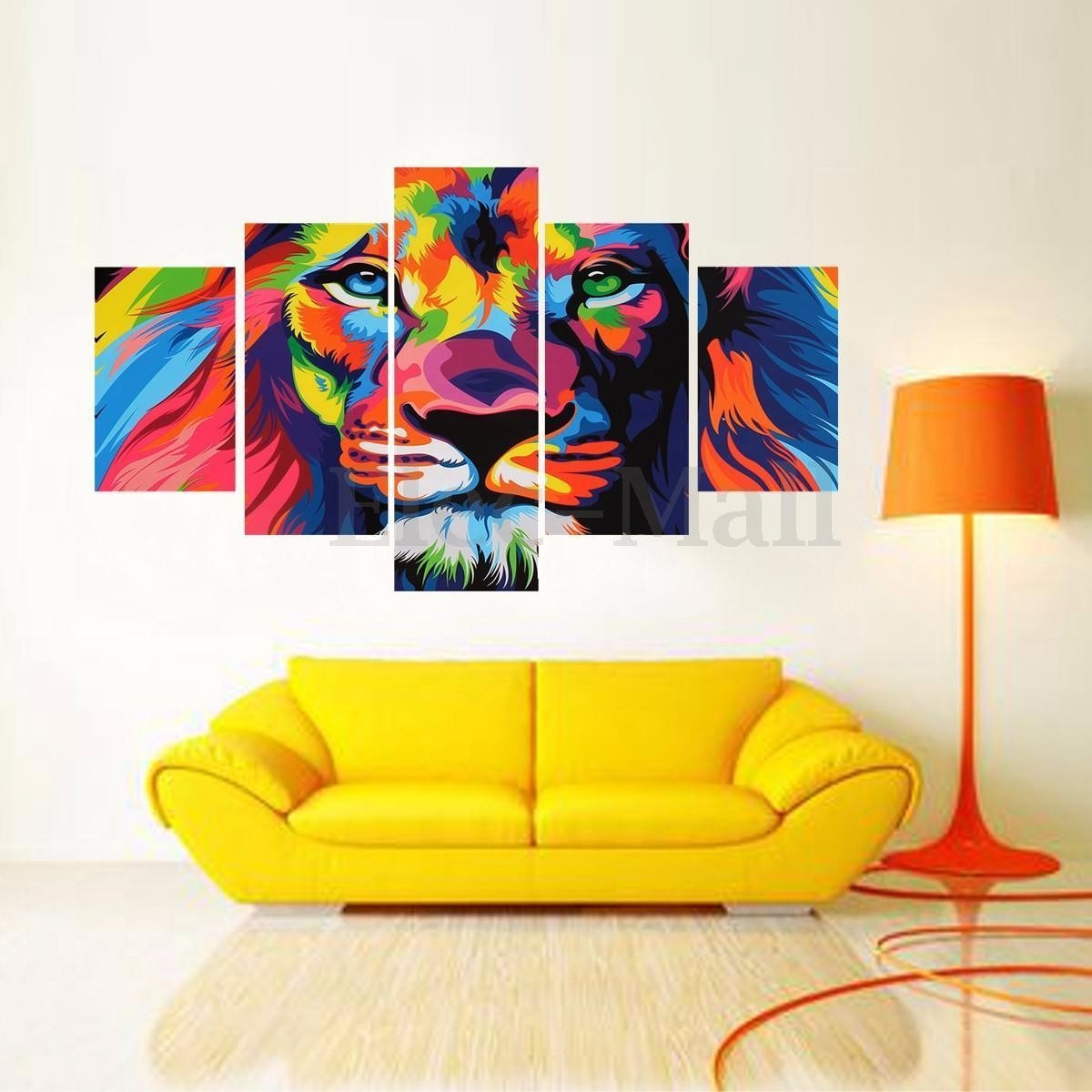 Quadro decora o sala de estar le o felino colorido r for Sala de estar quadro