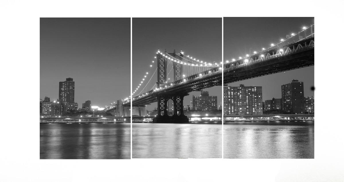 New york manhattan skyline and brooklyn bridge reprodução do