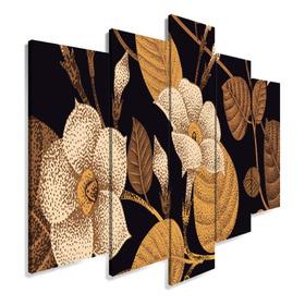 Quadro Decorativo 129x63 Sala Quarto Arte Flores Douradas