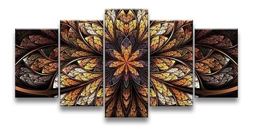 quadro decorativo 129x63 sala quarto flor simétrica design