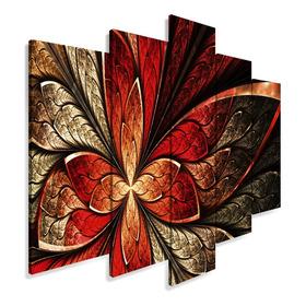 Quadro Decorativo 129x63 Sala Quarto Flor Vermelha Design