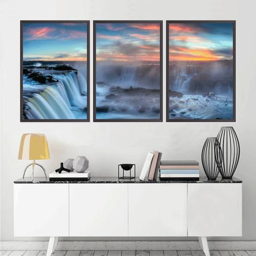 quadro decorativo 135x64cm cataratas do iguaçu quarto sala