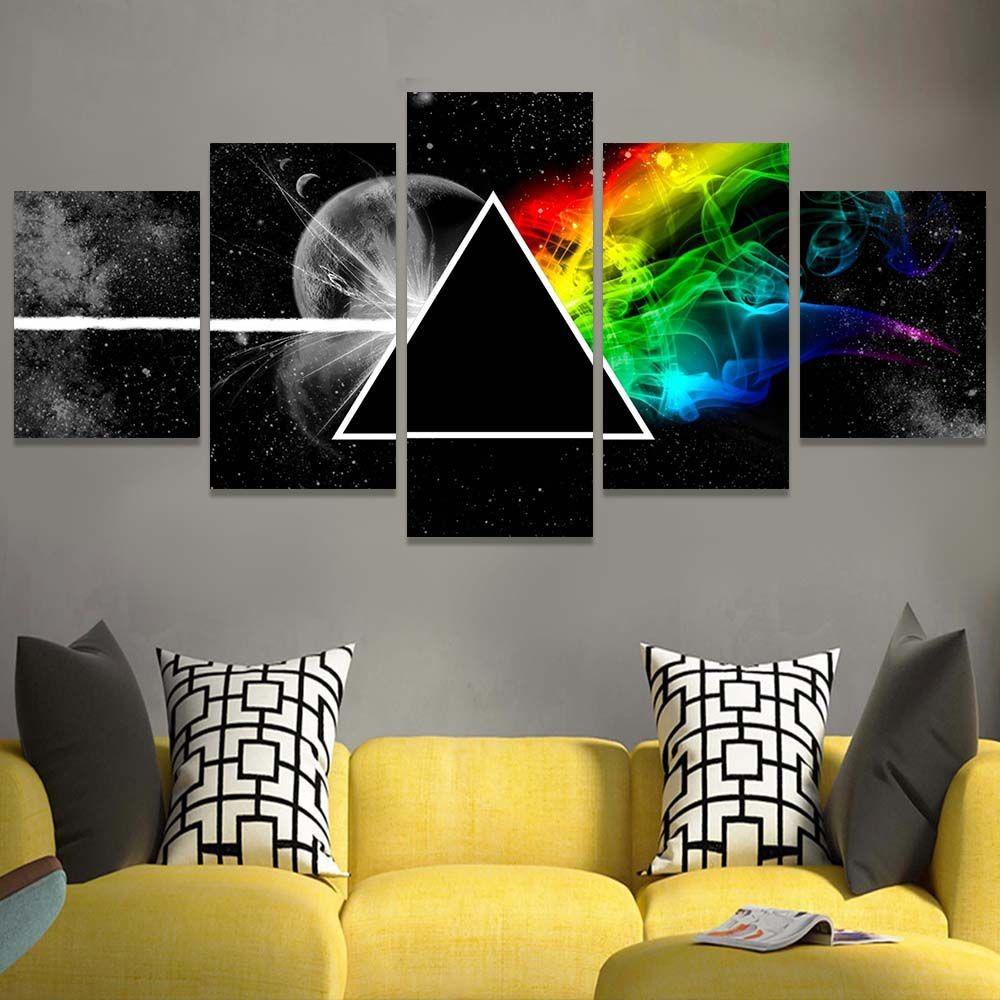 7a1455f38 Quadro Decorativo 5 Telas 158x72 Cm Rock Pink Floyd The Dark - R ...