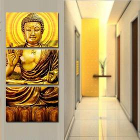 Quadro Decorativo 60x120 Buda Dourado Decoração 3 Peças