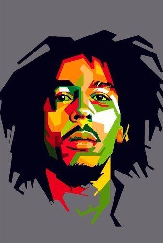 Quadro Decorativo A3 45x35 Reggae Bob Marley Desenho Present R