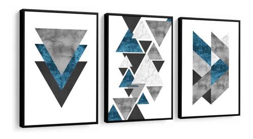 quadro decorativo abstrato azul geométrico cinza para sala quarto recepção escritório decoração criativa