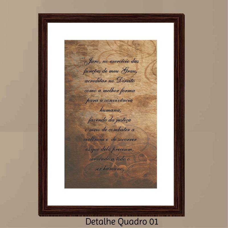 56c5c9c8f Quadro Decorativo Advogado Juramento 3 Peças Moldura Tabaco - R  145 ...