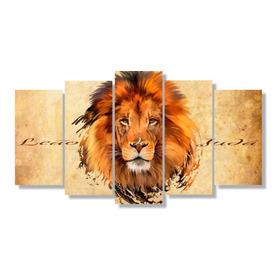 Quadro Decorativo Animais Rosto Leão Tribo Judá Jesus Grande