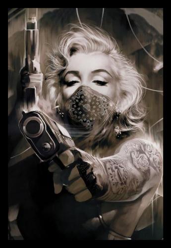 quadro decorativo arte marilyn monroe gangster armas 42x29cm